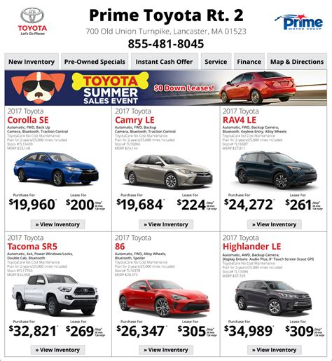 Prime Toyota Lancaster Ma Prime Toyota Route 2 Toyota Dealership In Lancaster Ma