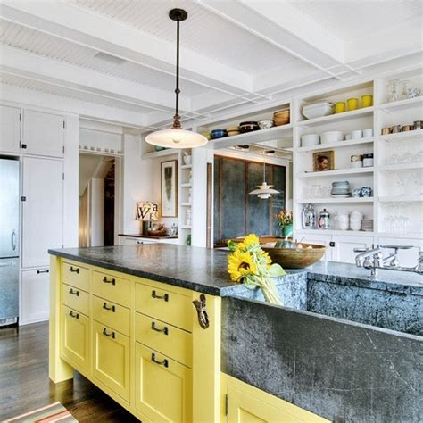 Yellow Kitchen Cabinets by Colorful Painted Kitchen Cabinets Homchick Stoneworks Inc