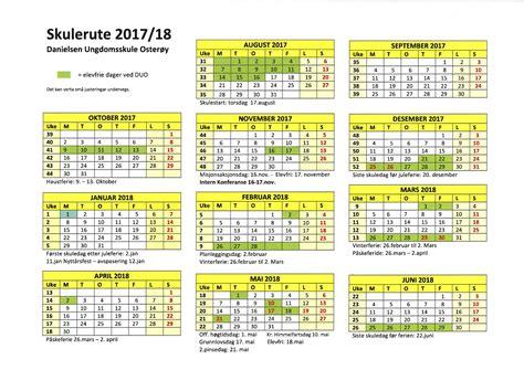 Kalender Med Uke Nr 2018 Skulerute 2017 2018 Danielsen Ungdomsskole Oster 248 Y