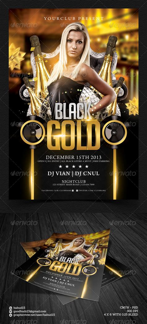 Black Gold Flyer Template By Angkalimabelas Graphicriver Gold Flyer Template