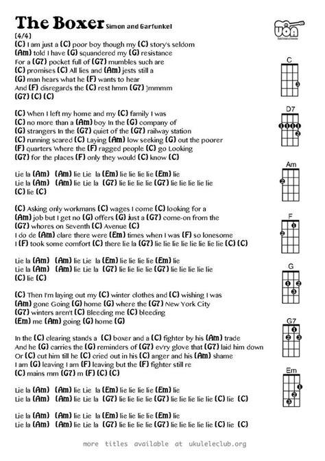 paul simon when i was a little boy the boxer simon and garfunkel ukulele chords ukulele