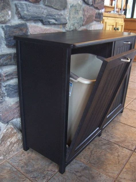 New Black Painted Wood Double Trash Bin Cabinet By Kitchen Cabinet With Trash Bin