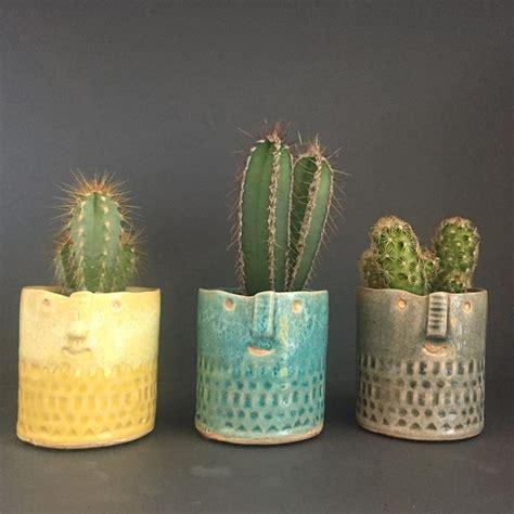 mini sage green cactus face plant pot plantophile source