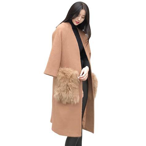 Coat Pocket Rabbit wool coat with fur han coats