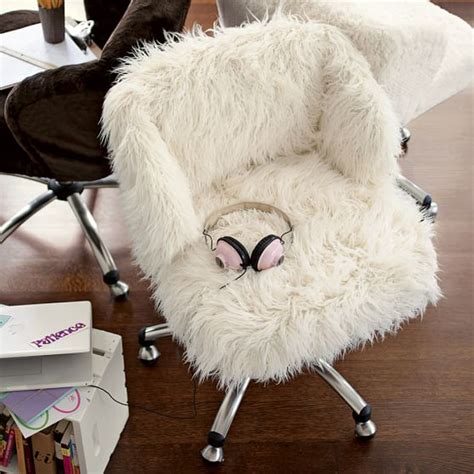 white fluffy desk chair ivory furlicious wingback desk chair pbteen