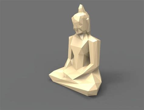 Papercraft 3d Model - printable paper model of buddha folding diy template by