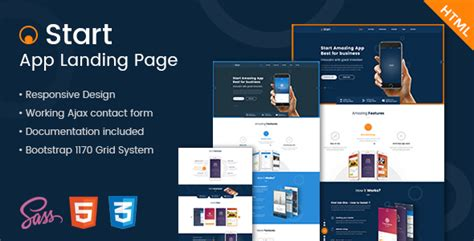Start App Landing Page Html Template By Kalanidhithemes Themeforest Start Page Template