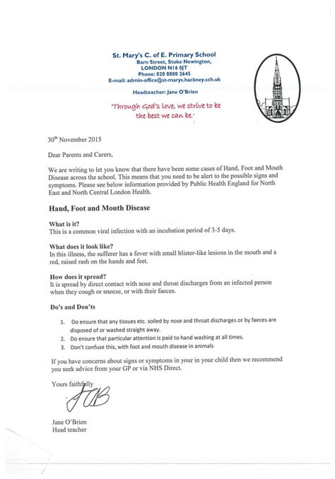 Parent Letter Foot Disease School Letters St S Church Of Primary School