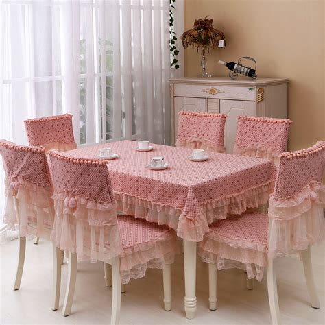 dining table cover set style pastoral dining tablecloth pink lace table