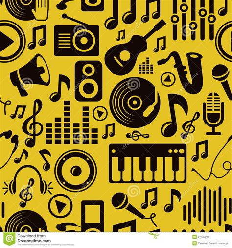 seamless pattern music vector music seamless pattern with icons royalty free