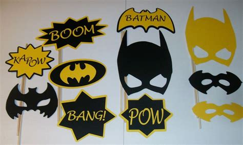 printable photo booth props batman details about diy 11 photo booth props batman boom yellow