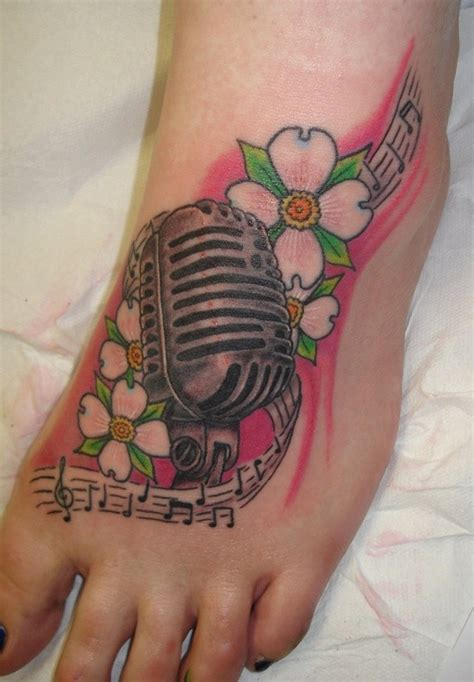 microphone bird tattoo awesome dogwood flowers and microphone tattoo on foot