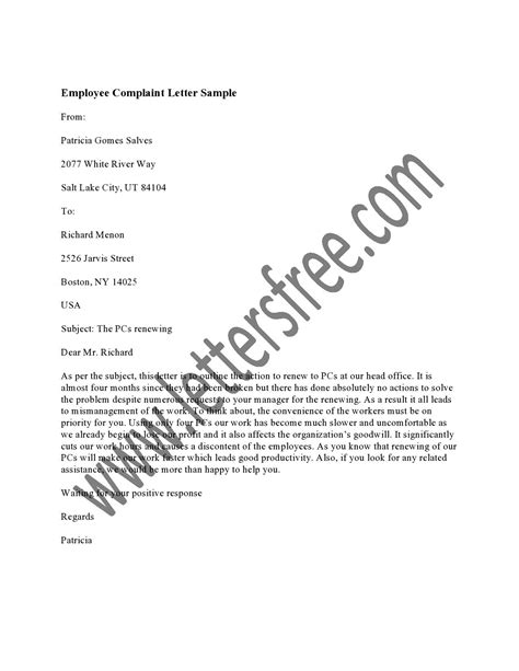 Complaint Letter For Airline Staff employee complaint letter creative writing exercises writing exercises and creative writing