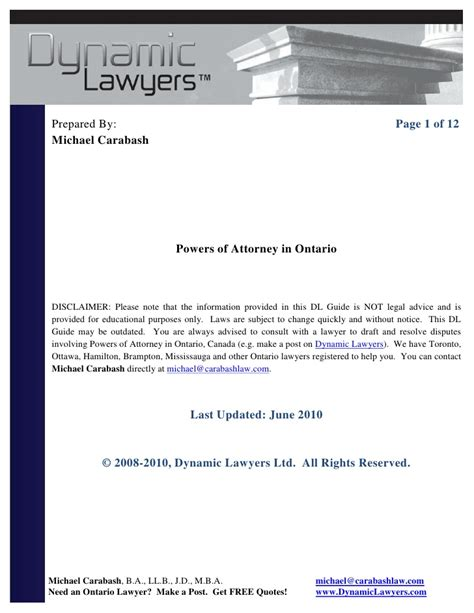 power of attorney template canada power of attorney form ontario