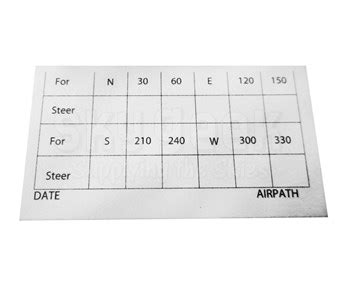 Compass Correction Card Template by Airpath C23 807 Compass Deviation Card At Skygeek