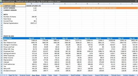 Stocks Spreadsheet by Stock Analysis Spreadsheet For Indian Stocks Free