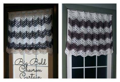 bold patterned curtains big bold chevron curtain free crochet pattern for your windows