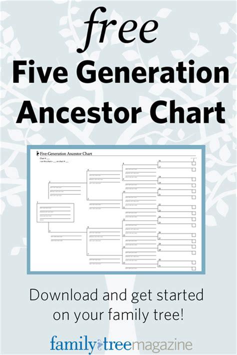 lds family tree printable free five generation ancestor chart genealogy