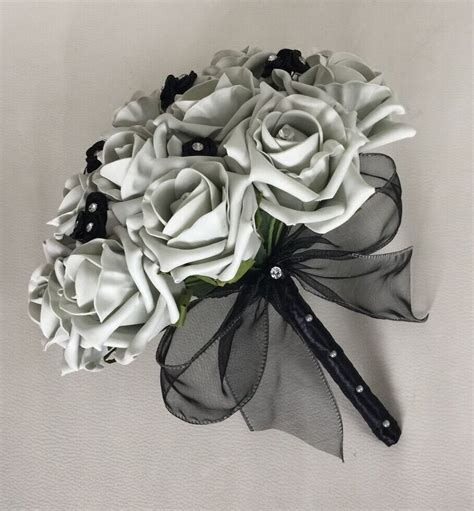 wedding flowers artificial black silver foam wedding bouquet bridesmaid ebay