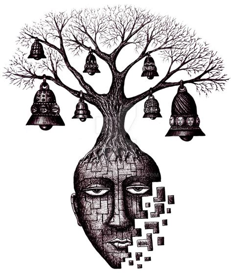 tree of your soul pen ink surreal drawing by vitogoni on