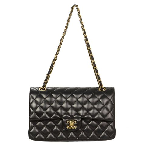 chanel black quilted lambskin leather 10 quot medium classic