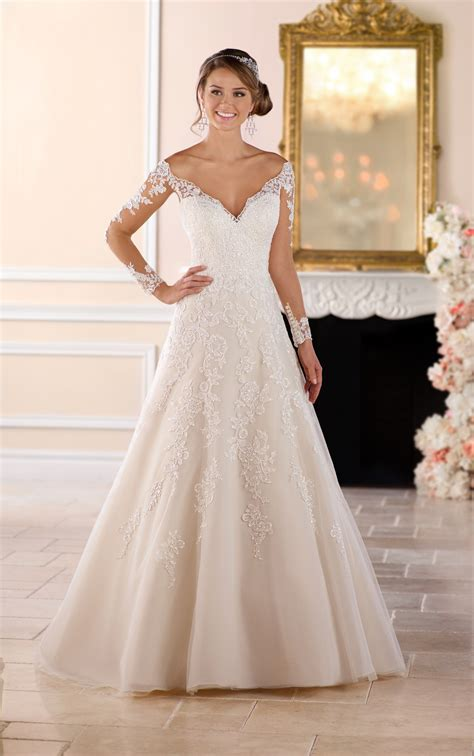shoulder lace wedding dress  sleeves stella