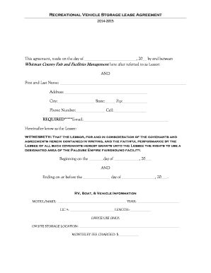 storage rental agreement template vehicle storage agreement template forms fillable