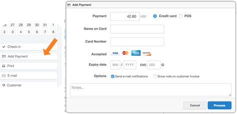 how do you make payments on a credit card booking point of sale