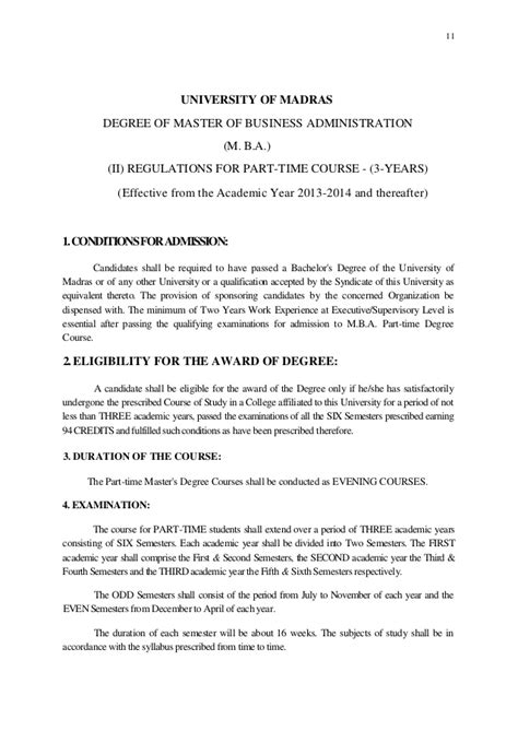Madras Part Time Mba by Mba Syllabus