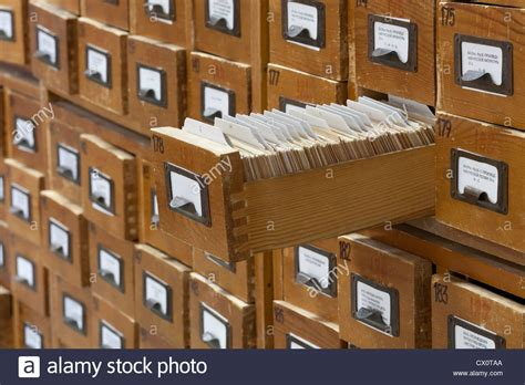 library index card cabinet database concept vintage cabinet library card or file
