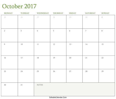 Printable October Calendar Template