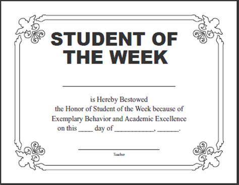 student of the week certificate template certificates for teachers student of the week 1