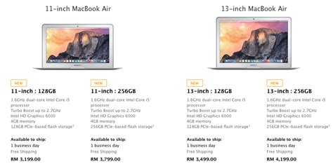 Macbook Air 11 Terbaru new pricing and specs bump macbook pro retina display macbook air early 2015 malaysia