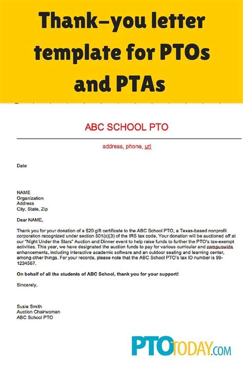thank you letter to for reward 39 best pto president images on pto today