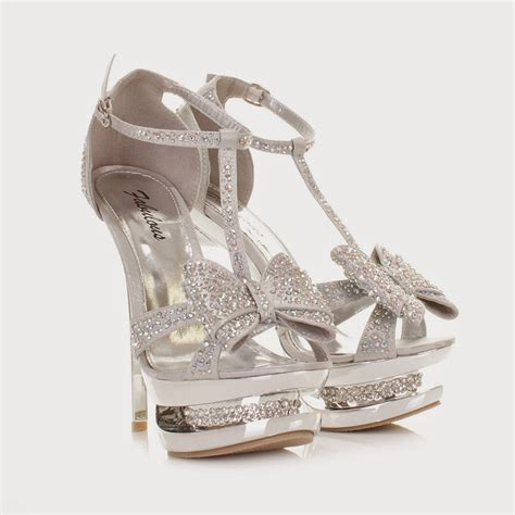 bow top silver formal prom shoes 2016 bridal wedding ideas