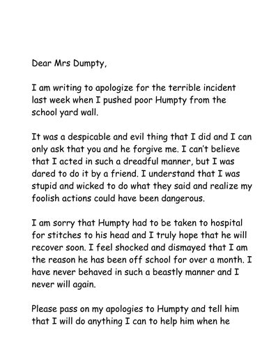 A Letter Of Apology To Humpty By Jpspooner Teaching Resources Tes Letter Template Ks1
