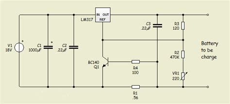 lm317 battery charger circuit diagram gt circuits gt particularly lm317 circuit with 12v battery