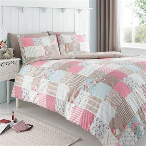 Patchwork Duvet Set - pink patchwork duvet cover set with floral