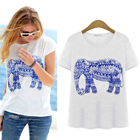 Vebita Elephant Casual Shirt elephant pattern sleeve casual t shirt crewneck top grxjy561445 on luulla