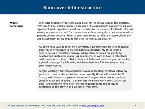Cover Letter Bcg by Bain Cover Letter Sle