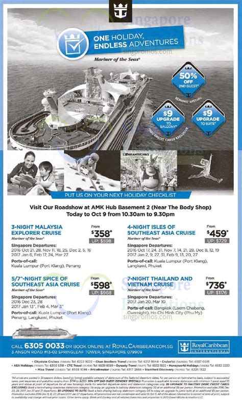 Royal Caribbean: Roadshow at AMK Hub from 4 ? 9 Oct 2016