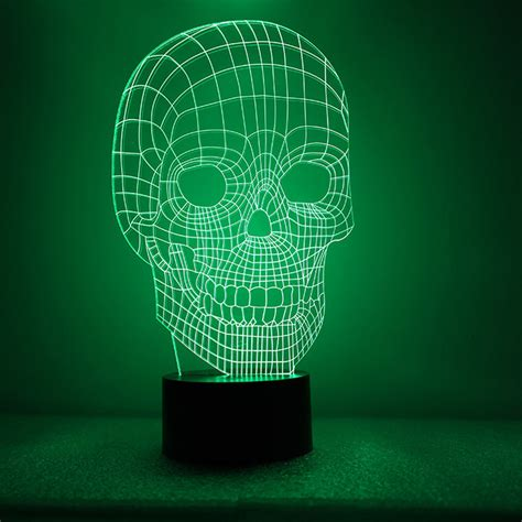 Portable 3d Illusion Skull Shape L Led Lu 3d Desain Tengkorak 3d illusion bulbing skull l acrylic led light micro usb table desk l ebay