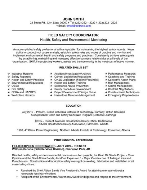 Resume Objective Exles Field Click Here To This Field Safety Coordinator Resume Template Http Www