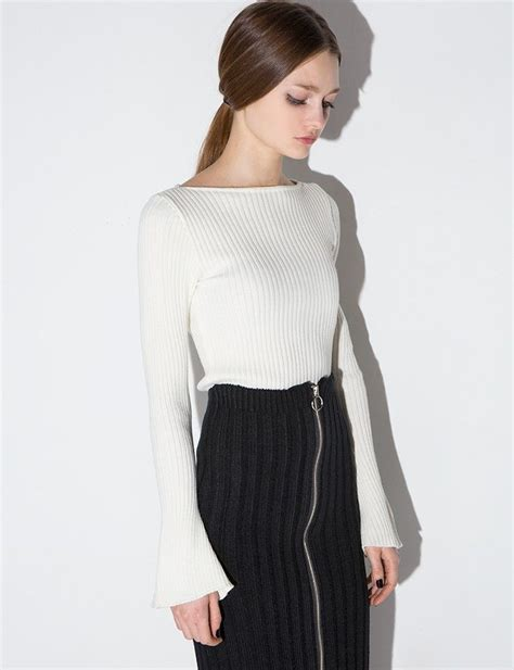 Ribbed Knit Sleeve Top ivory ribbed knit bell sleeve top 74 00 work