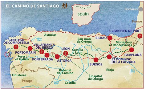 El Camino Map by Camino De Santiago Map Way Itineary Caspin Journeys