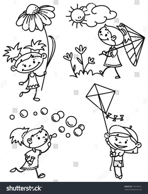 doodle version set with character doodle version stock vector