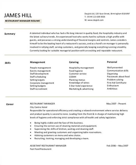 resume templates for restaurant managers 54 manager resumes in pdf free premium templates