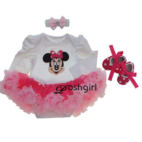 Set Baby Minnie baby clothing sets baby minnie mouse tutu romper dress jumpersuit headband shoes 3pcs