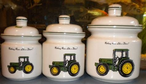 deere kitchen canisters vintage deere ceramic canister set of 6 pieces by