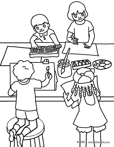 art room coloring page coloriages coloriage cours de dessin fr hellokids com